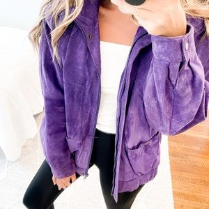 Gallery Vintage Leather Jacket Purple Size Medium